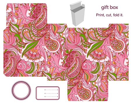 favor: Favor, gift, product box die cut.  Abstract floral pattern. Empty label. Designer template.