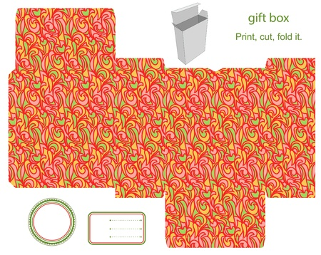 favor: Favor, gift, product box die cut.  Abstract pattern. Empty label. Designer template.
