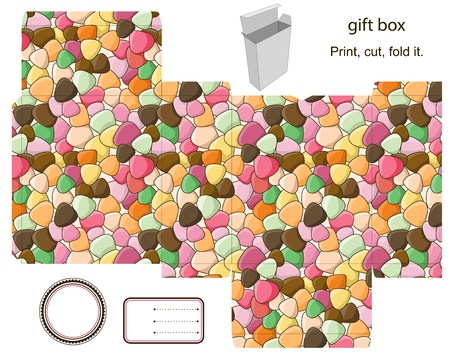Favor, gift, product box die cut.  Abstract pattern. Empty label. Designer template. Vector