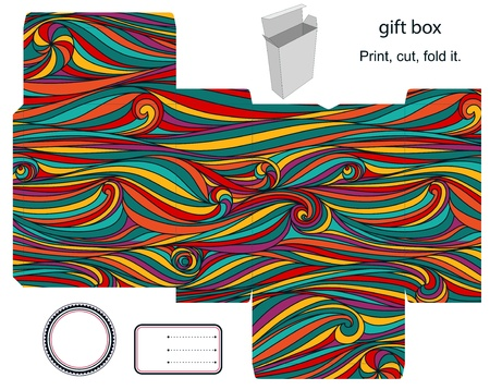 Favor, gift, product box die cut.  Waves stripped pattern. Empty label. Designer template.