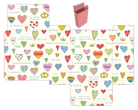 favor: Favor, gift, product box die cut.  Hearts pattern. Empty label. Designer template. Illustration