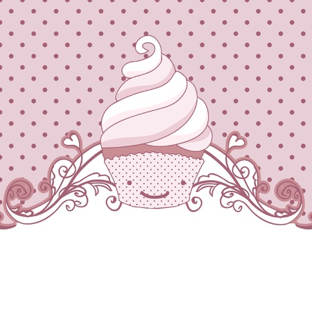 card with cupcake, pink background, blank copy space Vector
