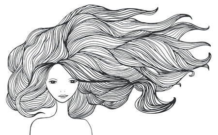 cute girl with long hair: Beautiful white girl with long hair. illustration. Illustration