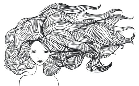 Niña blanca hermosa con el pelo largo. ilustración.