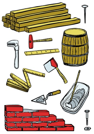 construction tools isolated in white background, illustration Vector