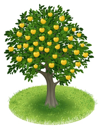 apple clipart: Summer Apple Tree with yellow apple fruits in green field, illustration