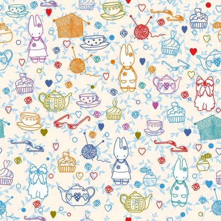 재료: 취미 일; 아기 토끼, 차 패턴입니다. 벽지, 패턴 칠, 웹 페이지 배경, 표면 텍스처에 대 한 사용할 수 있습니다.