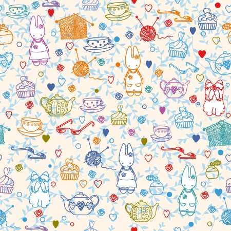 Pastime things; baby bunny, tea pattern. Can be used for wallpaper, pattern fills, web page background, surface textures. Illustration