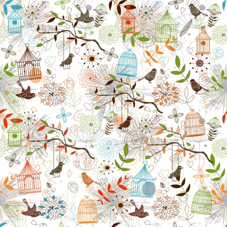Nature Pattern with birds. seamless.  Vector