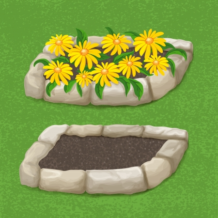 elements of nature: Garden Stone flowers container, empty and with yellow flowers, illustration Illustration