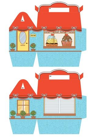 die cut: Favor, gift, cupcake box die cut.  Designer template.