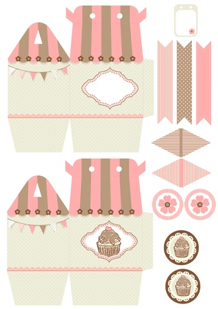 Favor, gift, cupcake box die cut.  Designer template. Vector