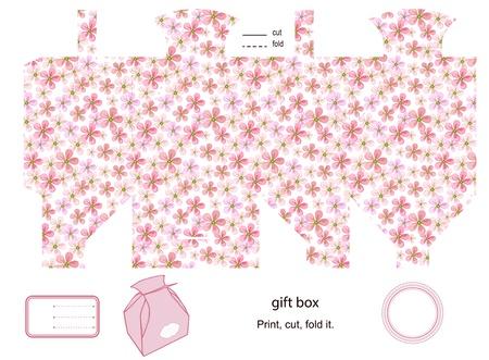 favor: Favor box die cut. floral pattern. Empty label.  Illustration