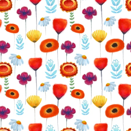 Abstract Nature Pattern with flowers. Endless pattern can be used for wallpaper, pattern fills, web page background, surface textures.  Vector