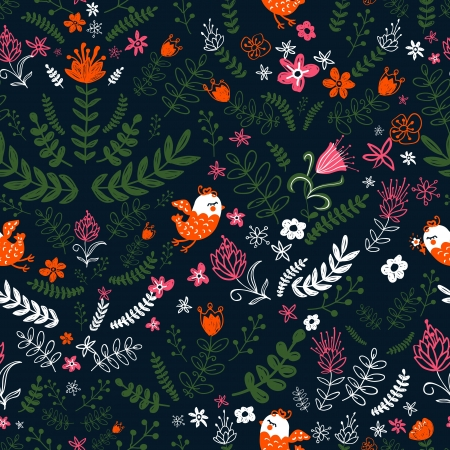 styled: Nature Pattern with birds. Seamless pattern can be used for wallpaper, pattern fills, web page background,surface textures. Floral background