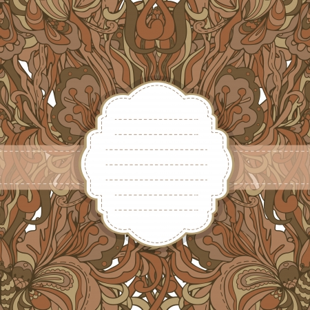 Floral card, invitation, banner template with empty label. Vector