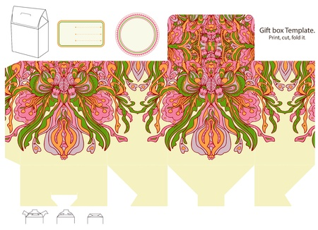 dieline: Gift box template. Abstract floral pattern. Empty label.