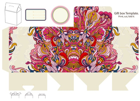 Gift box template. Abstract floral pattern. Empty label.