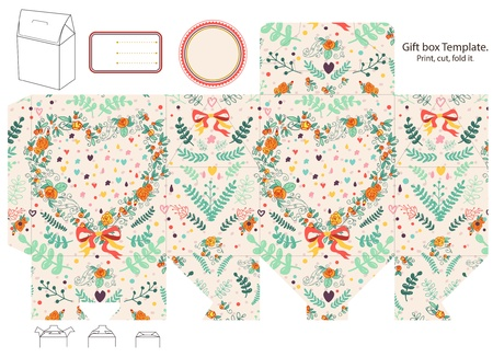 Gift box template. Abstract floral pattern with heart. Empty label.  Vector