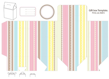 diecut: Gift box template. Stripped pastel hue pattern. Empty label.