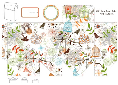 bird box: Gift box template. nature pattern with flowers, birds, birdcages. Empty label.  Illustration