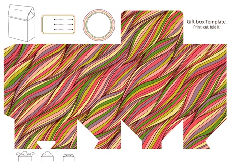 Gift box template. Waves pattern. Empty label.