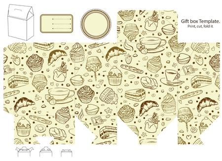 die cut: Gift box template. Cupcake, coffee, tea pattern. Empty label.