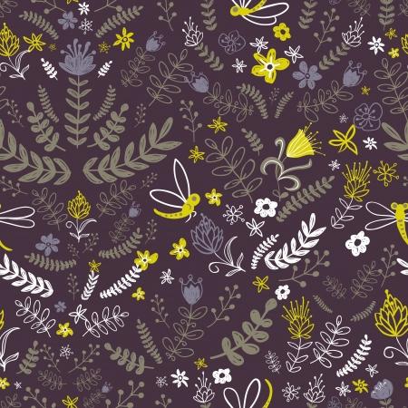 곤충, 나뭇잎과 꽃과 자연 패턴입니다. 벽지, 패턴, 웹 페이지 배경, 표면 텍스처를 채 웁니다. 꽃 배경