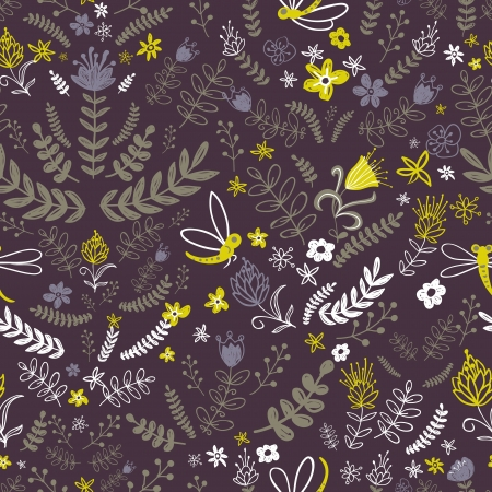 Nature Pattern with insect, leaves and flower. For wallpaper, pattern fills, web page background,surface textures. Floral background Vector