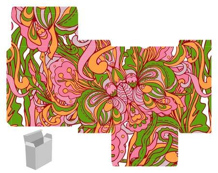 die cut: Favor, gift, product box die cut.  Abstract floral pattern. Designer template. Illustration