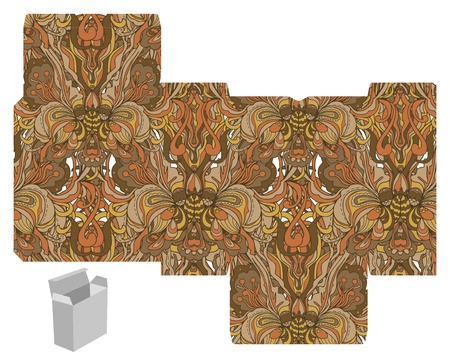 Favor, gift, product box die cut.  Abstract floral pattern. Designer template. Vector