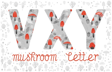 v alphabet: ABC, letters V, X, Y. Mushrooms and forest elements in colorful alphabet. Autumn forest ABC symbols