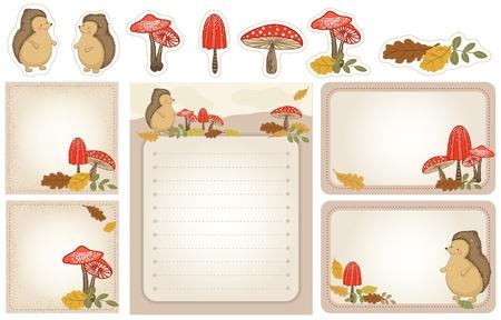 egel: Set van briefpapier met egel, paddestoelen, herfstbladeren. Herfst, bos scene. Stock Illustratie