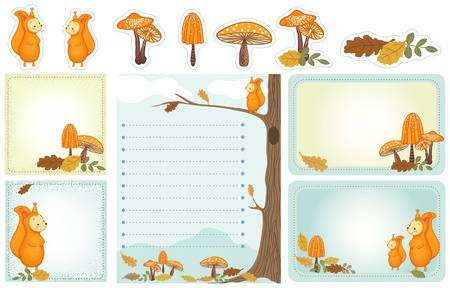 Set of stationery with squirrel, mushrooms, autumn leaves. Autumn, woodland scene. Vectores