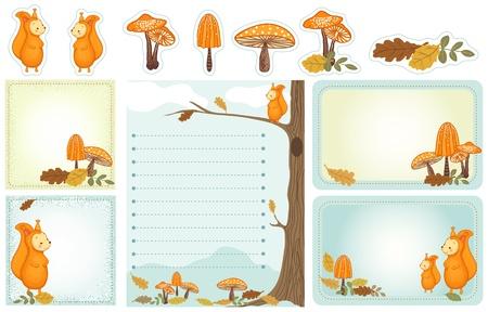 wild mushrooms: Set of stationery with squirrel, mushrooms, autumn leaves. Autumn, woodland scene. Illustration