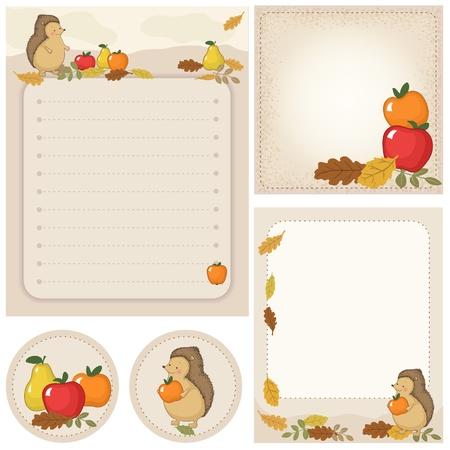 woodland: Set of stationery with hedgehog, apple, autumn leaves. Autumn, woodland scene.