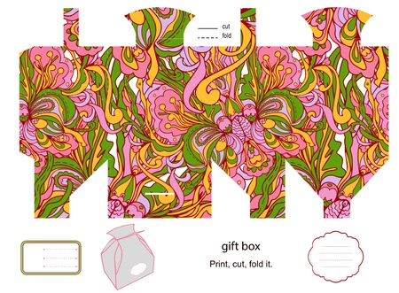 Favor, gift, product box die cut.  Floral pattern. Empty label. Designer template. Vector