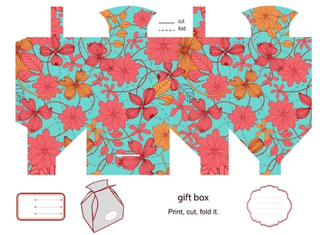 die cut: Favor, gift, product box die cut.  Floral pattern. Empty label. Designer template. Illustration