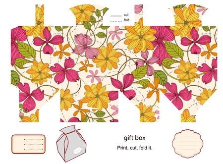dieline: Favor, gift, product box die cut.  Floral pattern. Empty label. Designer template. Illustration