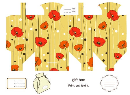 Favor, gift, product box die cut.  Floral pattern. Empty label. Designer template. Illustration