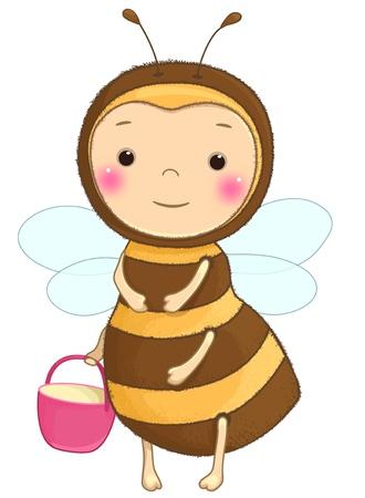 familia animada: personaje de dibujos animados abeja reina divertida