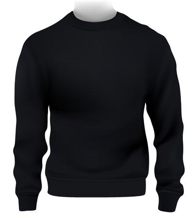 wear: Man sweatshirt, Design template. Black. Illustration