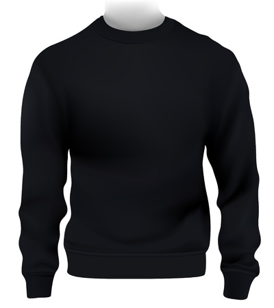 sweatshirt: Man Sweatshirt, Design-Vorlage. Schwarz. Illustration