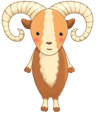 funny urial or wild sheep cartoon character Vector