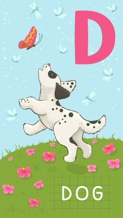 decorative letter: Animals ABC, letter D. Dog in alphabet card.