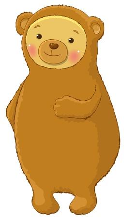 funny bear cartoon character isolated Vector