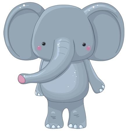 familia animada: divertido personaje de dibujos animados elefante, aislado Vectores