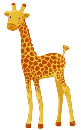 funny giraffe cartoon character, isolated Illustration