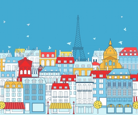 Paris cityscape with traditional buildings and famous architectures elements.