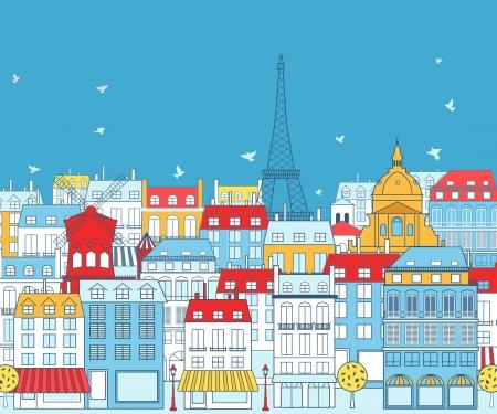 Paris Stadtbild mit traditionellen Geb?en und ber?en Architekturen Elemente.